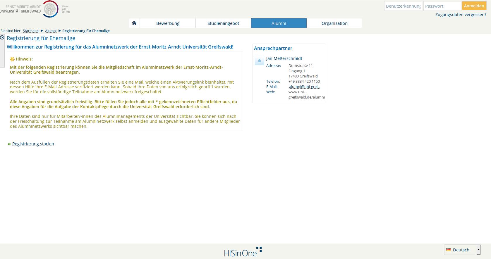 neuregistrierung rechenzentrum universitt greifswald - Uni Greifswald Bewerbung
